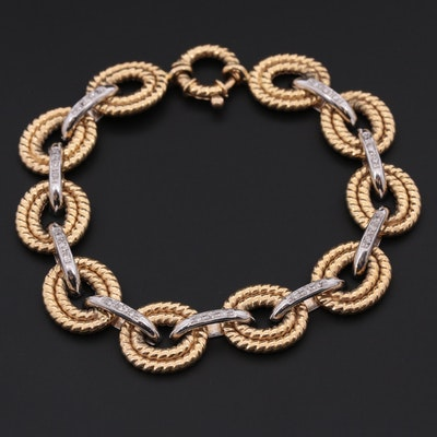 18K Yellow and White Gold Diamond Circle Link Bracelet