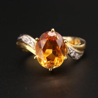 14K Yellow Gold Orange Sapphire and Diamond Ring