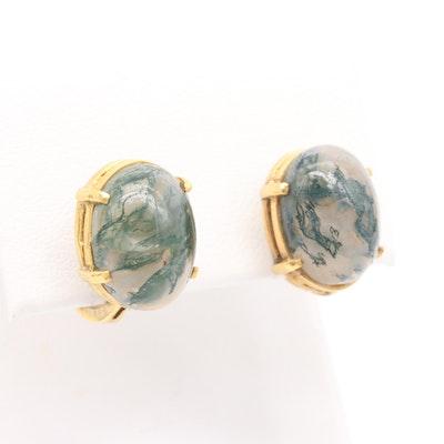 10K Yellow Gold Agate Earrings