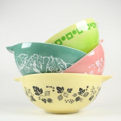 "Pyrex Cinderella Mixing Bowls including ""Gooseberry"" and ""Green Salad"""