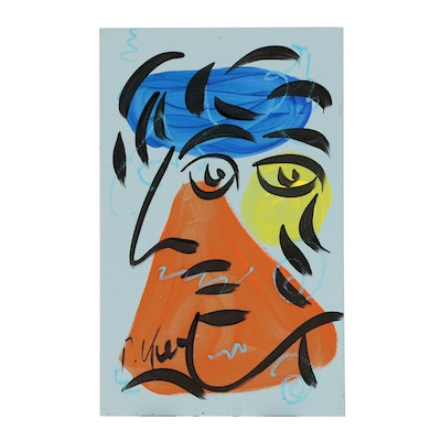Peter Keil Mixed Media Painting of Abstract Figure