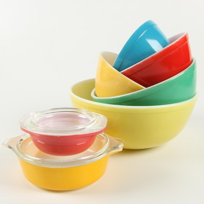 """Pyrex """"Primary Colors"""" Mixing Bowls and Lidded Casserole Dishes, 1945–1949"""