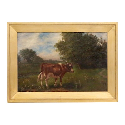 Pastoral Landscape Oil Painting, Late 19th Century