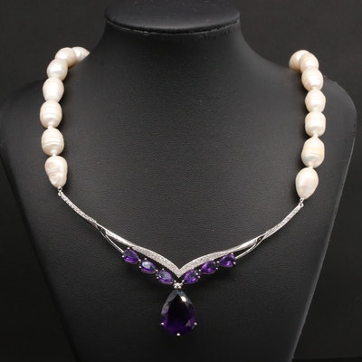 Sterling Silver Cultured Pearl, Amethyst, and White Topaz Necklace