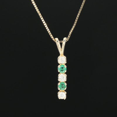 14K Yellow Gold Diamond and Emerald Pendant Necklace