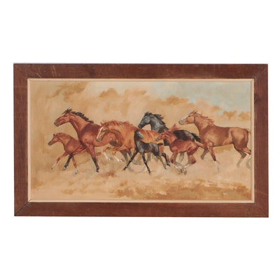 Oil Painting of Running Horses, 1966
