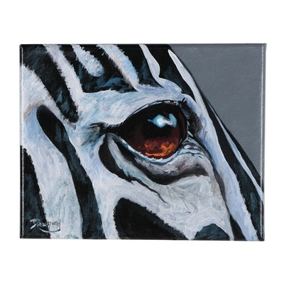 Marc Broadway Acrylic Painting of Zebra Eye