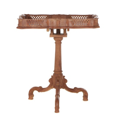 George II Style Carved Hardwood Birdcage-Action Tripod Table, Late 20th Century