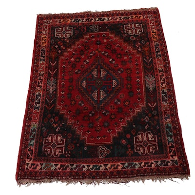 "5' x 6'9"" Hand-Knotted Persian Heriz Serapi Rug, Semi-Antique"