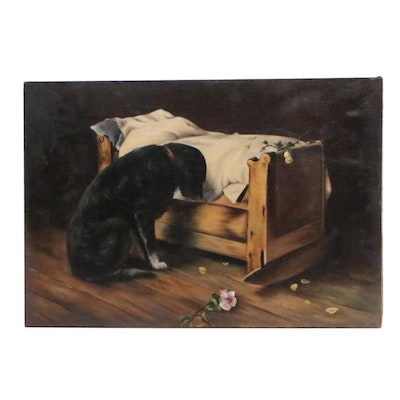 Dog by Child's Bed Oil Painting, 20th Century