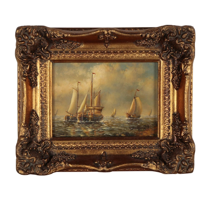 Maritime Oil Painting, Late 20th Century