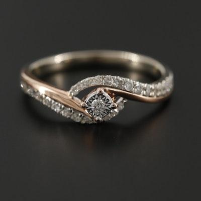 10K White and Rose Gold Diamond Ring