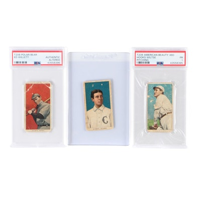 """Antique """"T-206"""" Baseball Tobacco Cards, Two Graded by PSA, 1909-1911"""