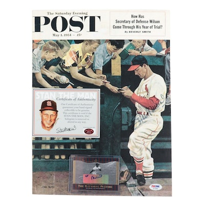 Stan Musial Signed Saturday Evening Post and Card PSA /COA