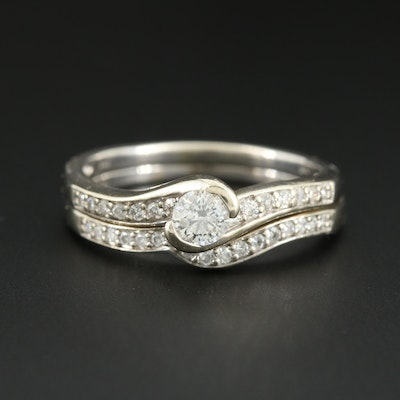 14K White Gold Diamond Ring and Shadow Band