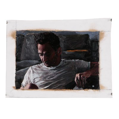 "Martin Azari Figure Oil Painting ""Self Portrait"""