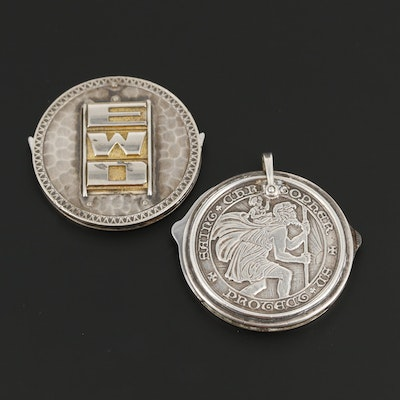 Sterling Silver Pocket Knife Pendant with St. Christopher