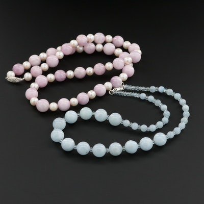 Beaded Aqua, Cultured Pearl and Kunzite Necklace With Sterling Silver Clasp