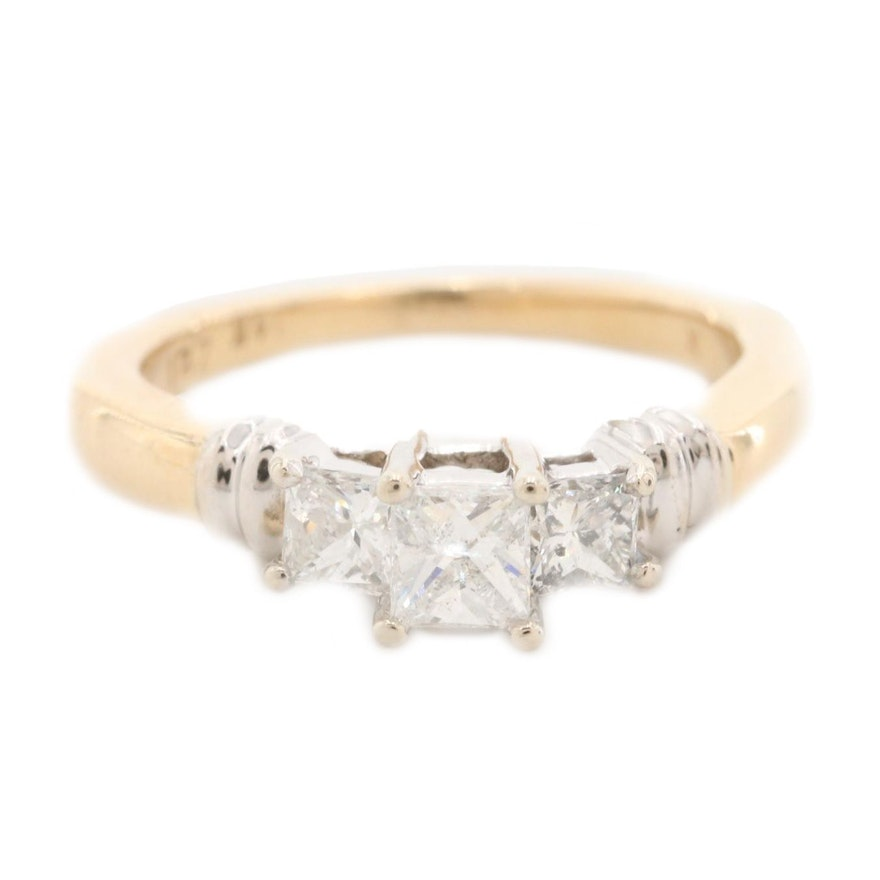 14K Yellow Gold Diamond Ring with White Gold Top