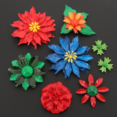 Large Assortment Of Enamel Floral Earrings and and Brooches