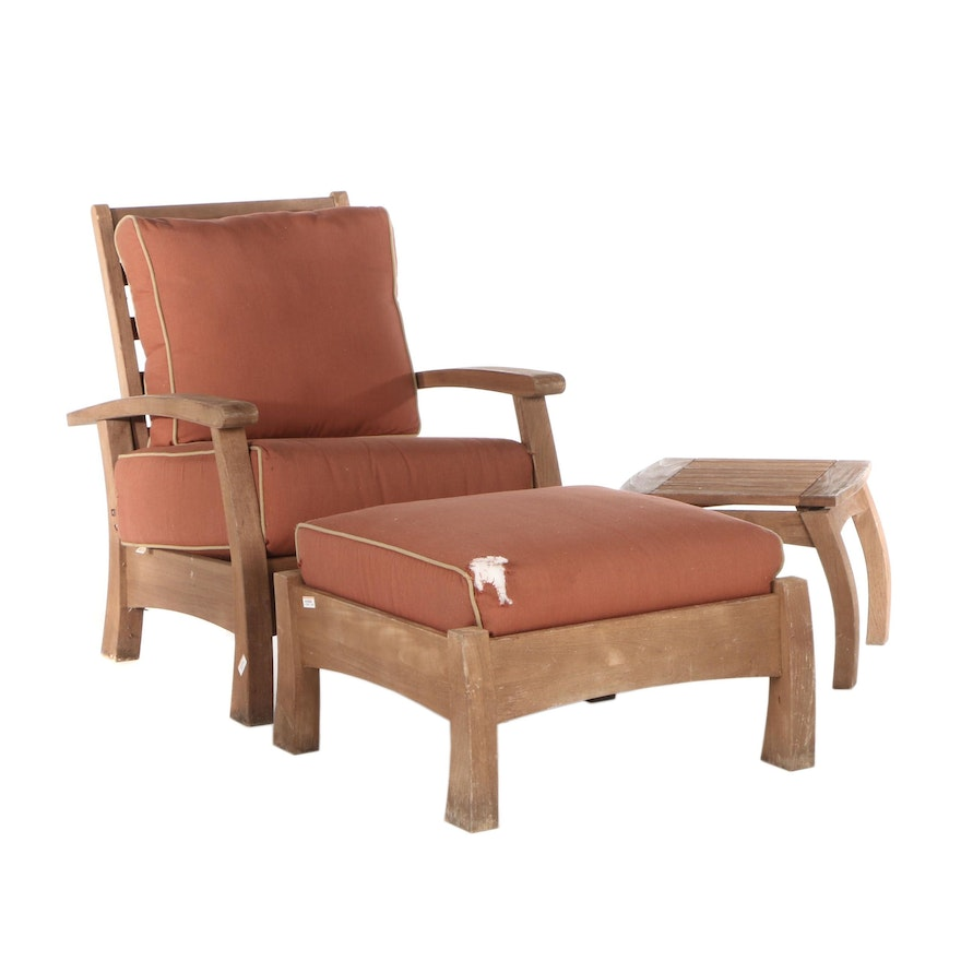 Arthur Lauer Brazilian Hardwood Patio Lounge Chair with Ottoman and Side Table