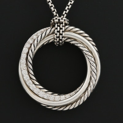 "David Yurman ""Crossover"" Sterling Silver Diamond Pendant Necklace"
