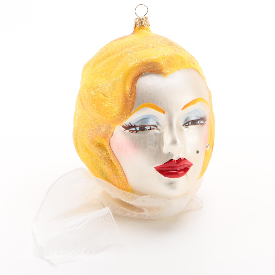Laved Italian Hand-Painted Marilyn Monroe Glass Ornament, Contemporary