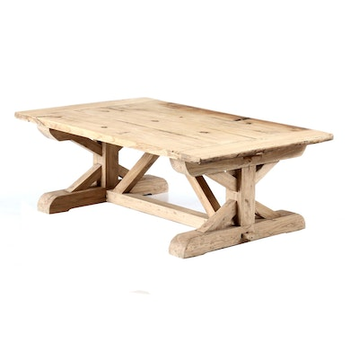 Rustic Style Oak Trestle Coffee Table, Contemporary