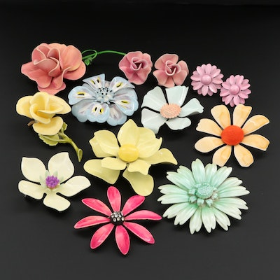 Pink, Yellow, Blue and Green Enamel and Rhinestone Floral Brooches and Earrings