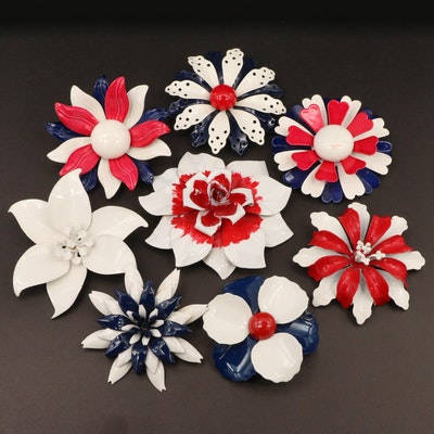 White, Blue and Red Enamel Floral Brooches