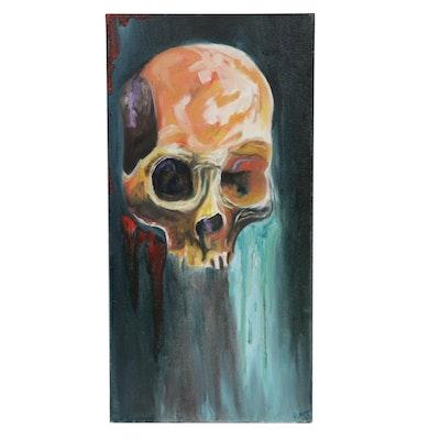 Patrice Roberts Human Skull Oil Painting