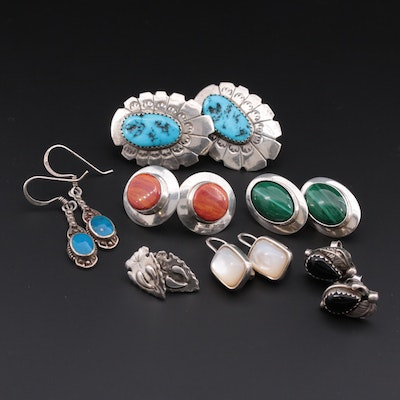 Southwestern Style Sterling Turquoise, Malachite and Mother Of Pearl Earrings