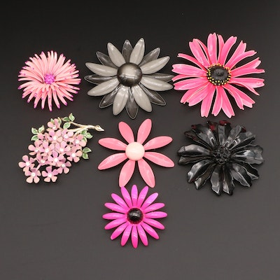 Pink and Black Rhinestone and Enamel Floral Brooches