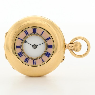 18K Gold Demi Hunter Side-Winder Pocket Watch