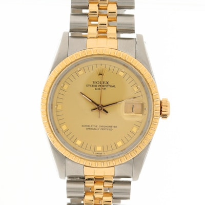 Vintage Rolex Date 18K Gold and Stainless Steel Automatic Wristwatch