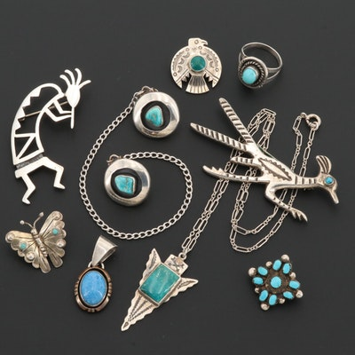 Southwestern Style Sterling Silver Turquoise Jewelry Including Mexican Piece
