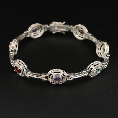 Sterling Silver Amethyst, Citrine, Garnet, Topaz and Peridot Bracelet