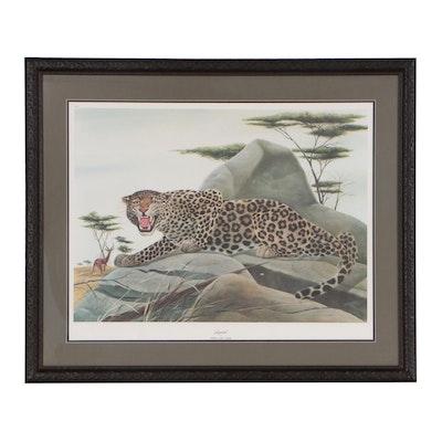 """John A. Ruthven Offset Lithograph """"Leopard"""""""