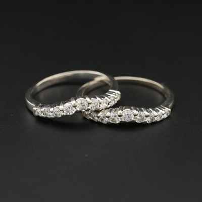 14K White Gold Diamond Shadow Rings
