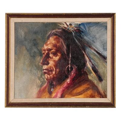 Les Hawks Oil Portrait of Native American Man, 1976