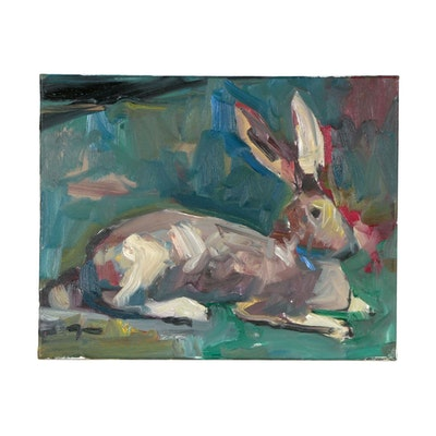"Jose Trujillo Oil Painting ""The Hare"""