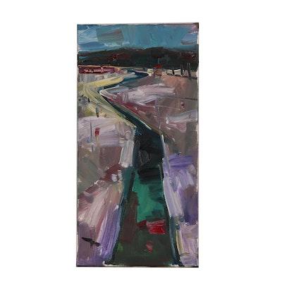 "Jose Trujillo Oil Painting ""The Winding River"""
