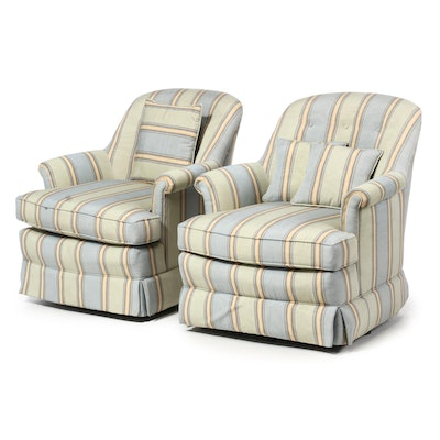 Stripe Upholstered Armchairs with Matching Pillows, Contemporary