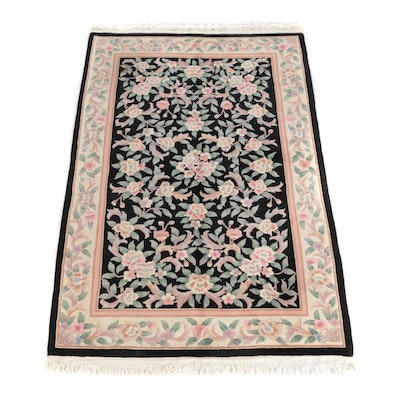 6' x 9'11 Hand-Knotted Chinese Floral Wool Area Rug