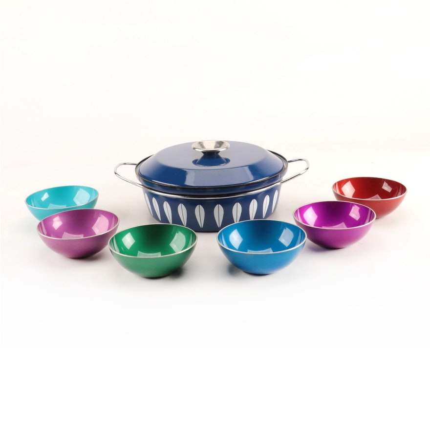 Cathrineholm Enameled Dutch Oven with Emalox Enameled Bowls, Mid-Century