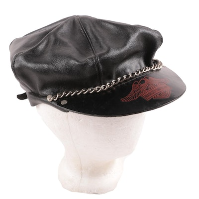 Harley-Davidson Black Leather Cap with Chain Accent, 1970s Vintage
