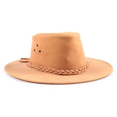 Kakadu Australia Tan Leather Hat with Braided Band
