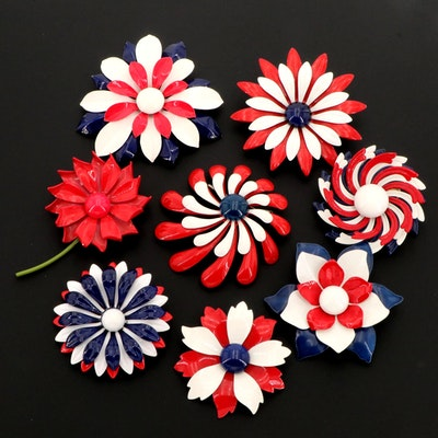 Large Assortment Of Enamel Floral Brooches