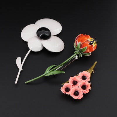 Weiss Orange, Pink and White Enamel Floral Brooches