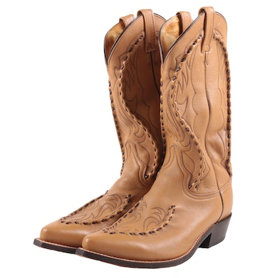Dan Post Light Brown Leather Cowboy Boots with Top-Stitch Accents